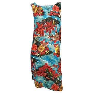 Vintage 1950s Hawaiian Print Red and Blue Shift Dress