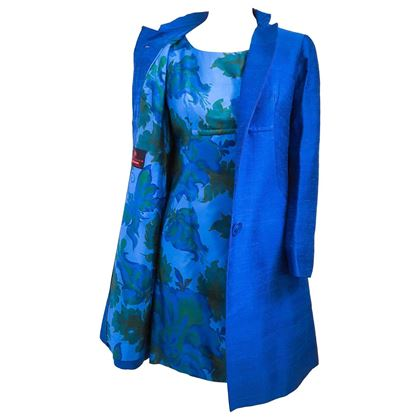 1960s Blue Floral Mini Dress and Coat Set