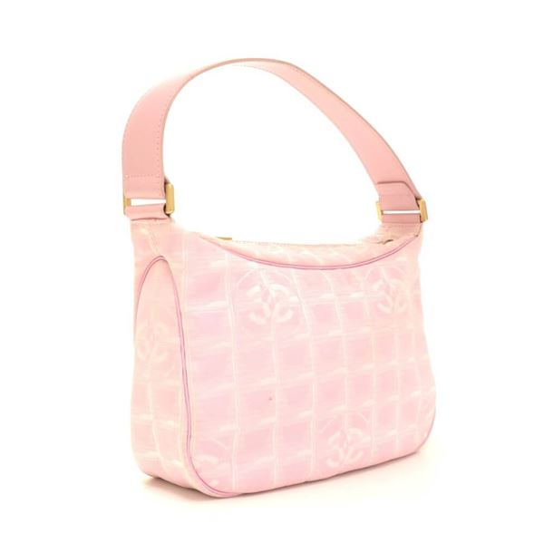 Chanel Pink Nylon Travel Line Pochette Handbag