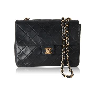 Chanel 1980s Black Quilted Leather Mini Handbag