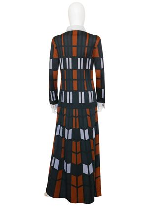 Roberta di Camerino 1970s Geometric Print Navy Blue Maxi Dress
