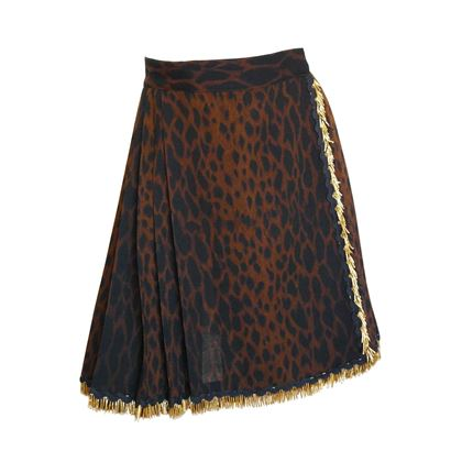 Gianni Versace 1990s Couture Pleated Animal Print Brown Skirt