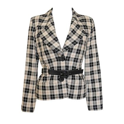 Yves Saint Laurent 1980s Belted Checkered Black and White Jacket