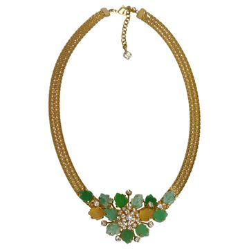 Christian Dior 1960 Floral Milanese Mesh Green Cut Glass Necklace