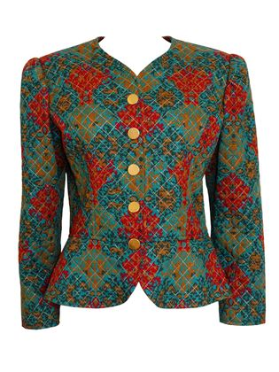 Yves Saint Laurent 1980s Quilted Green Evening Jacket