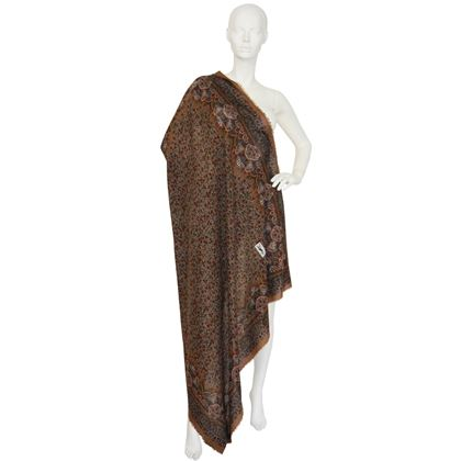 Yves Saint Laurent 1970s Huge Printed Wool Brown Scarf