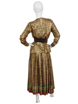 Yves Saint Laurent 1970s Silk Metallic Lame Evening Ensemble