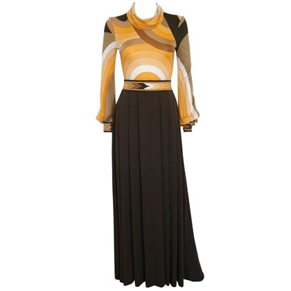 Leonard c. 1973 Documented Brown Silk Evening Dress