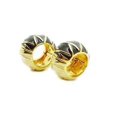St John 1980s Enamel Gold Tone Black Vintage Earrings