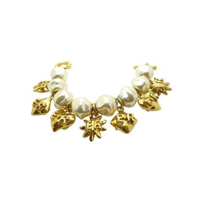 Edouard Rambaud 1980s Haute Couture Faux Pearl Gold Tone Charm Bracelet