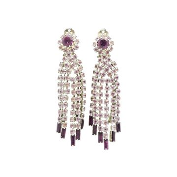 Vintage French Crystal Chandelier Purple Clip On Earrings