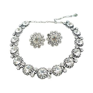 Jewelcraft 1950s Large Crystal Necklace and Earring Set
