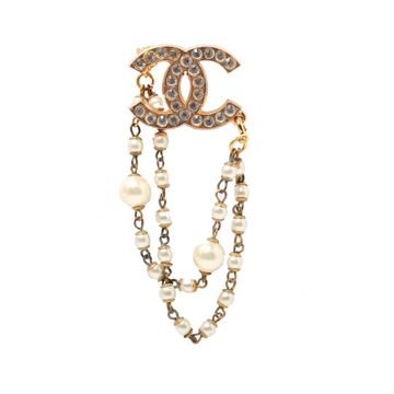 Chanel Gold Tone Rhinestone Monogram Brooch