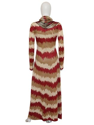 Roberta di Camerino 1970s Trompe l'Oeil Red and Brown Maxi Dress
