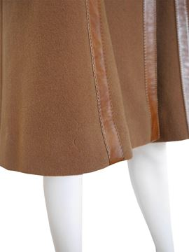 Roberta di Camerino 1970s Wool & Leather Brown Vintage Coat