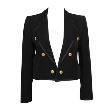Yves Saint Laurent 1970 Black Cropped Vintage Jacket