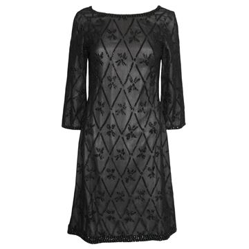 Marie Caillot 1960s Haute Couture Beaded Black Vintage Shift Dress