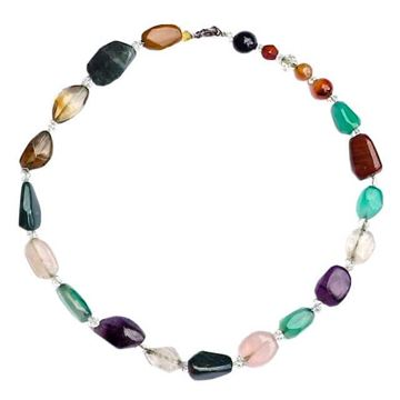 Vintage 1950s Polished Semi Precious Stones Multicoloured Necklace