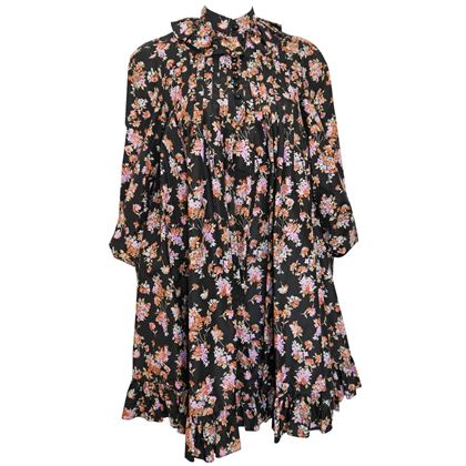 YVES SAINT LAURENT 1960s 1970s Printed Silk Evening Coat or Dress Size XS