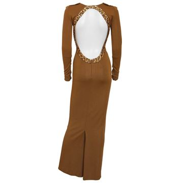 Jean Paul Gaultier Bejewelled Backless Bodycon Brown Vintage Evening Dress
