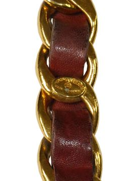 Chanel 1970s CC Statement Burgundy Red Leather Chain Belt