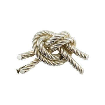 Hermes 1950s Twisted Knot Silver Brooch