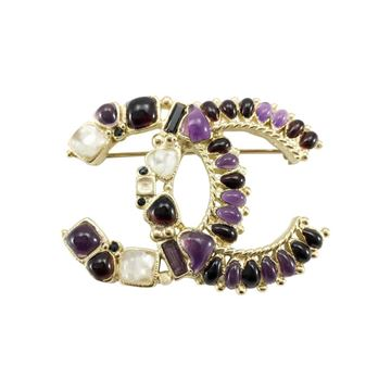 Chanel Gripoix Embellished Gilt Metal Multicoloured Logo Brooch