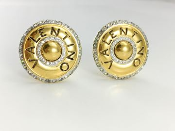 Valentino 1980s Rhinestone Embellished Round Gilt Earrings