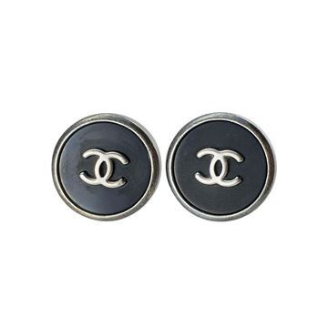 Chanel Black and Silver Logo Earrings