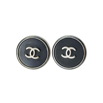 Chanel Black and Silver Logo Earrings - 1996