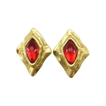 Yves Saint Laurent 1980s Large Red Gripoix Gold Plated Lozenge Earrings