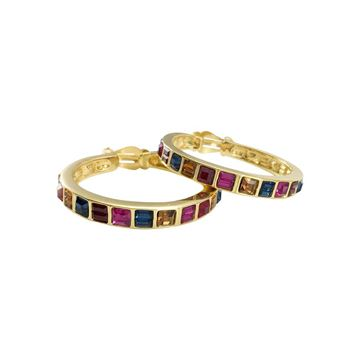 YSL 1980s Large Colorful Crystal Embellished Gold-Plated Hoop Earrings