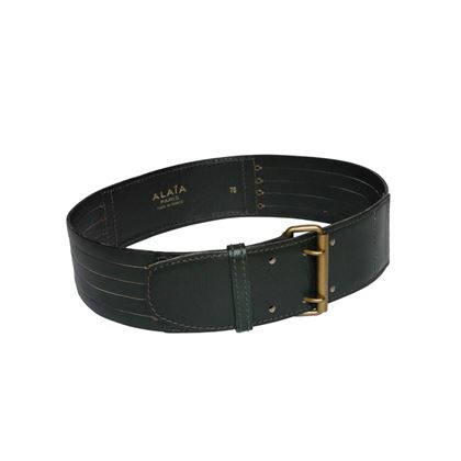 Alaia 1990s Dark Green Leather Vintage Belt