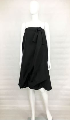 Balenciaga 1980s Black Silk Gazar Buble Cocktail Dress