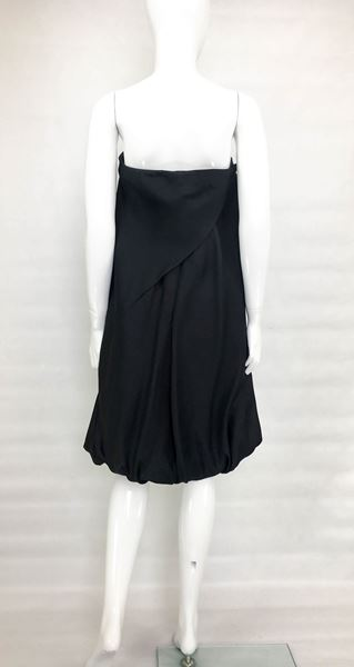 Balenciaga Black Silk Gazar Buble Cocktail Dress - 1980's