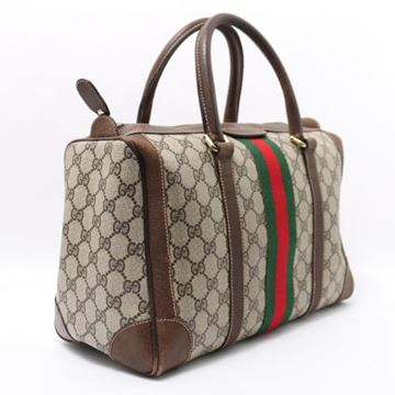Gucci Brown GG Pattern Boston Bag