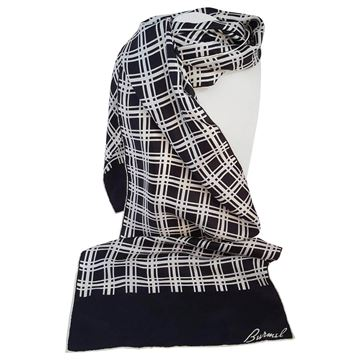 Burmel 1980s Black and White Checked Vintage Scarf