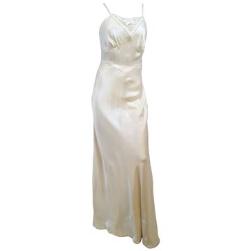 Linda Carter for Young Edwardian 1970s 30s Style Ivory Maxi Dress