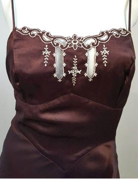 Linda Carter for Young Edwardian 1970s 30s Style Brown Maxi Dress