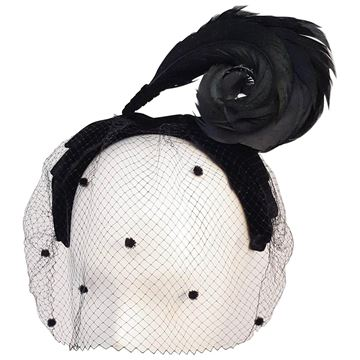 Vintage 1950s Velvet Bow and Curled Feather Black Veiled Hat