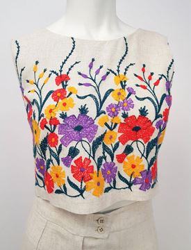 Vintage 1960s White Linen Embroidered Flower Top and Trouser Set