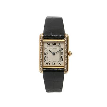 Cartier Gold and Black Must Tank Diamond Watch