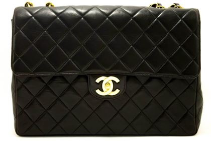"Chanel Black 11"" Jumbo Handbag"