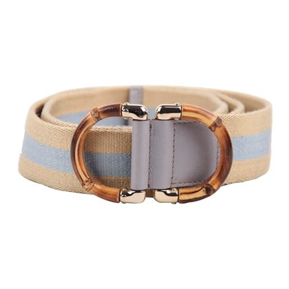 Gucci Cream & Light Blue Canvas Belt