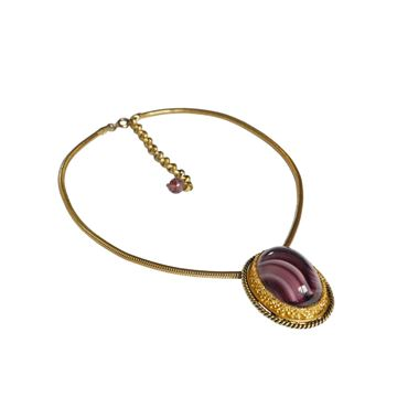 Christian Dior 1970s Large Glass Stone Purple Pendant Necklace