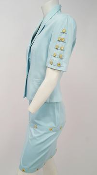 Versace Jeans Couture 1990s Sky Blue Skirt Suit