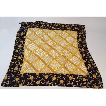 Enrico Coveri 1980s Printed Silk Black and Gold Scarf