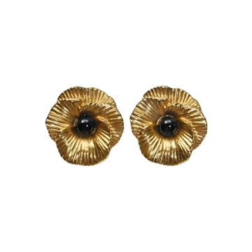 Lanvin 1970s Gold Tone Floral Vintage Clip-On Earrings