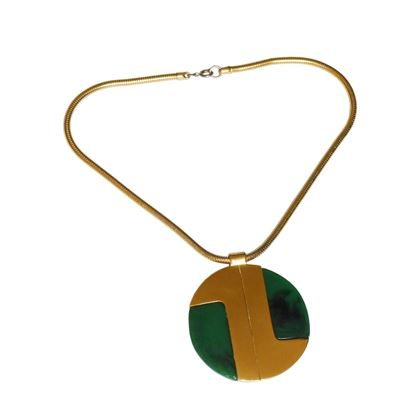 Lanvin 1970s Modernist Large Green and Gold Tone Resin Disc Pendant Necklace