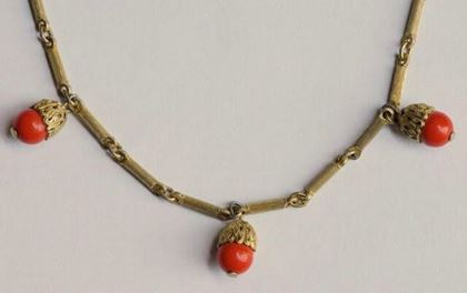 Vintage 1940s Long Gold Tone Filigree Faux Coral Necklace